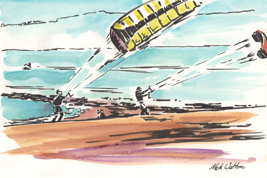 Pen and watercolour sketch of Exmouth Kites