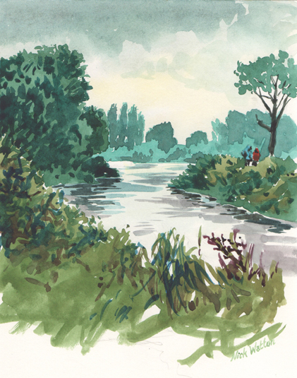 Watercolour sketch looking down the Exeter Ship Canal, with trees all around.