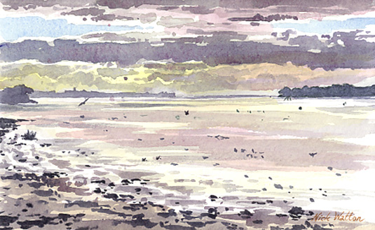 Watercolour sketch looking 'Down the Exe' from the Goat Walk, Topsham.
