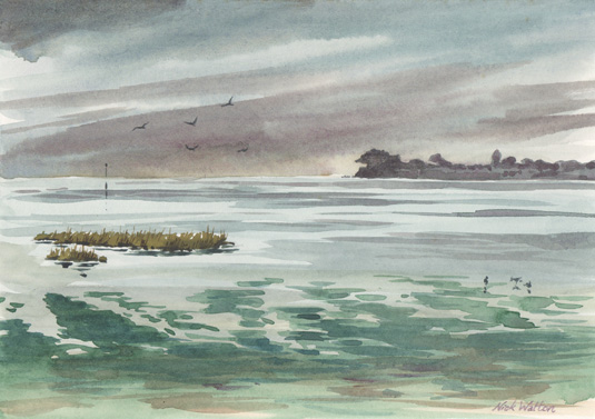 Watercolour painting looking out across the Exe Estuary with Drizzle blowing in.