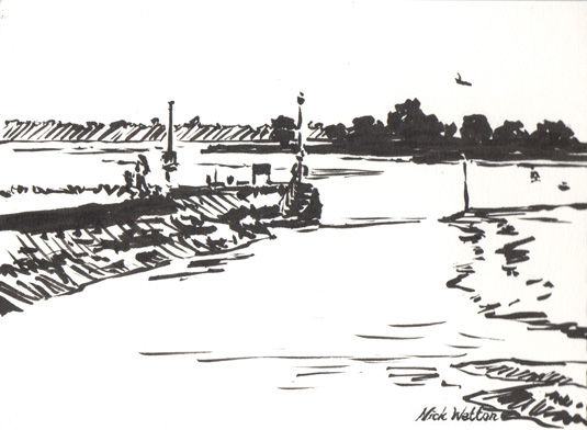 Small pen sketch of the Entrance to the Ship Canal