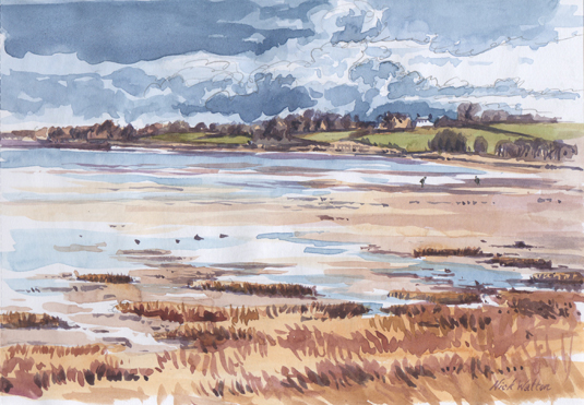 Watercolour painting looking north up the Exe Estuary.