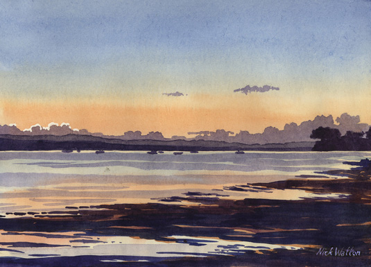 Watercolour painting of the sun setting over the Exe Estuary.