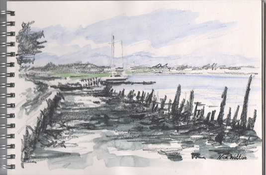 Watercolour pencil sketch - Up the Exe from Turf