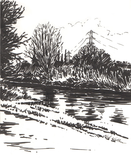 Black and white pen sketch of the Exeter Ship Canal and the fields beyond.