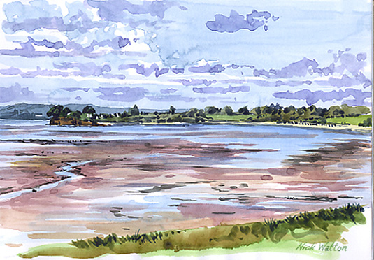 Watercolour looking out across Exmouth Estuary Beach.