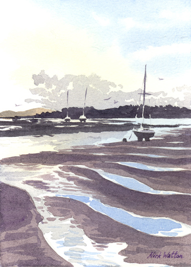 Watercolour painting looking across the Exe Estuary with reflections in the low tide pools.