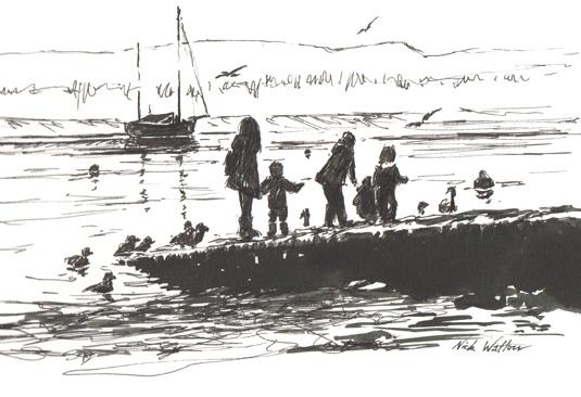 Black & white pen drawing, 'feeding the ducks at Topsham'