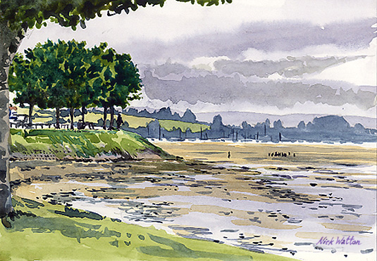 Watercolour painting looking out across the Exe Estuary from Exmouth, with trees on an embankment.