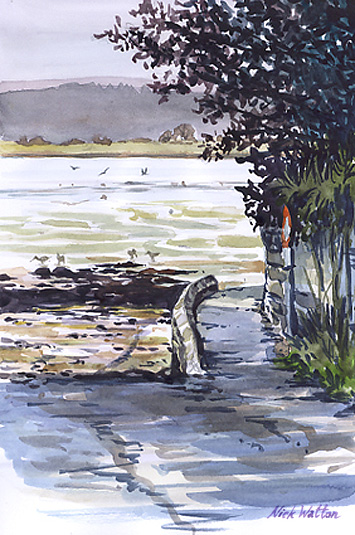 Watercolour painting of the start of the Goat Walk at Topsham