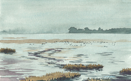 Watercolour Sketch of Grey Skies over the River Exe.