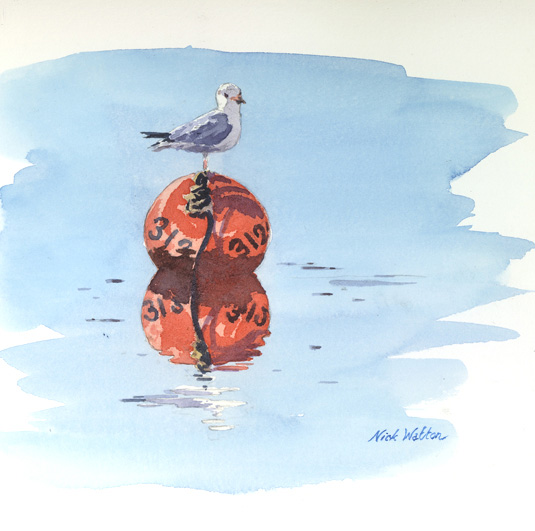 Watercolour painting of a Gull standing on a buoy.