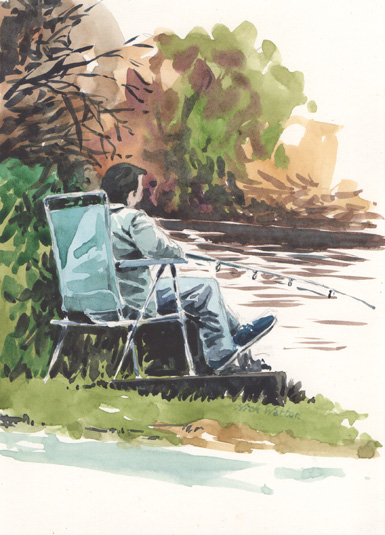 Just Fishing, watercolour sketch of a man fishing on the Exeter Ship Canal.