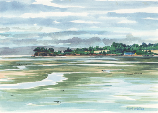 Watercolour sketch looking out across King's Lake, part of the Exe Estuary.