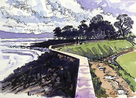 Watercolour and pen drawing, showing the levee on the west side of the Exe Estuary going off into the distance, on it's zigzag route.