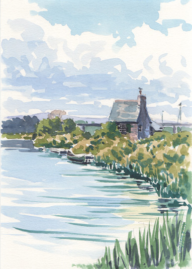 Watercolour sketch of the Lock Cottage on the Exeter Ship Canal