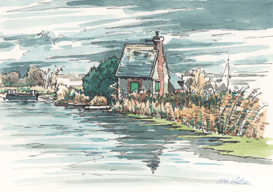 Watercolour sketch of the Lock Keepers Cottage on the Exeter Ship Canal