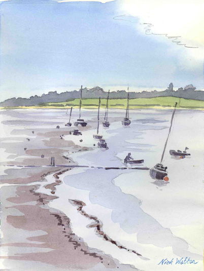 Watercolor sketch looking down the Exe Estuary from Topsham, showing the boats aground at low tide.