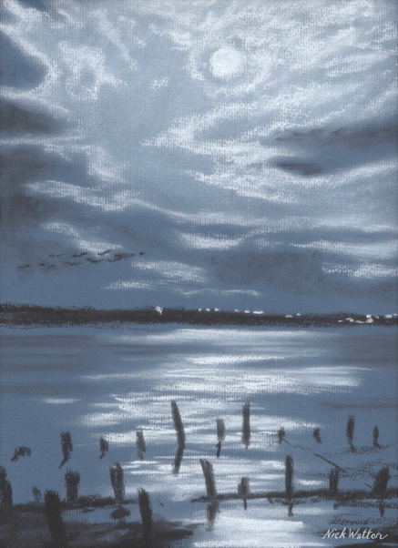 Charcoal and pastel drawing of Moonlight on the Exe