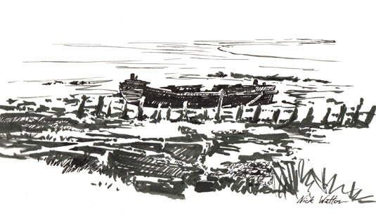 Black and white pen drawing of an abandoned barge on the mud in the Exe Estuary.