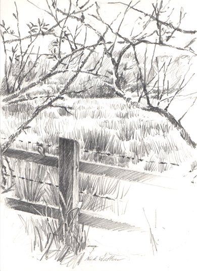 Pencil sketch at Exeter's River Park