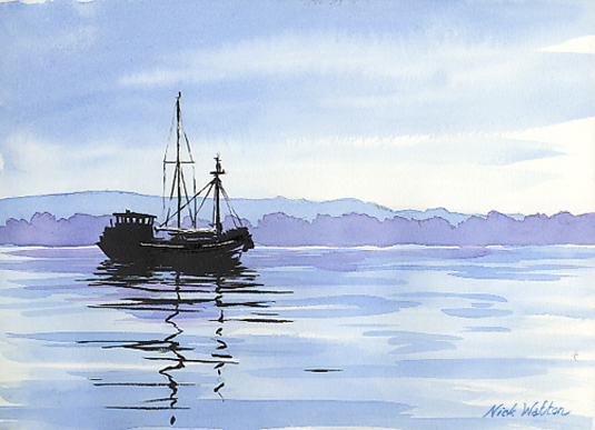 Watercolour painting with a boat on it's mooring on the Exe Estuary.
