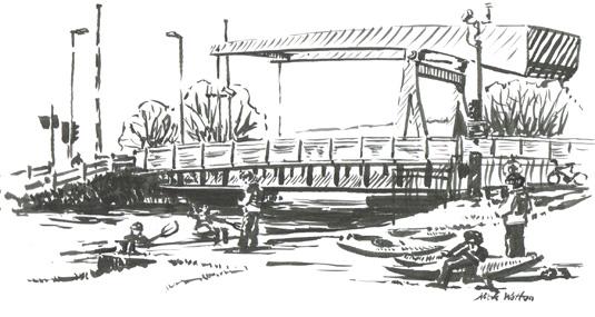 Pen sketch of Exeter's Swing & Bascule Bridge