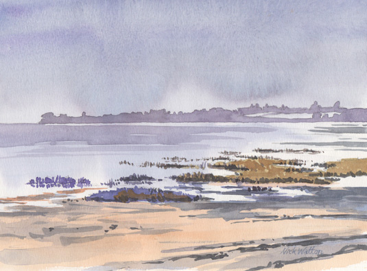 Watercolour sketch looking up the Silent Exe Estuary.
