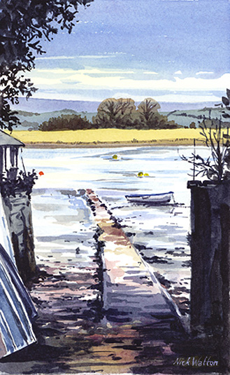 Watercolour sketch, Slip on the Exe