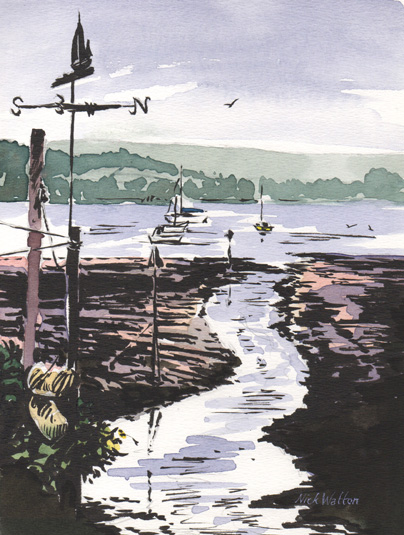 Pen and watercolour sketch on the Exe Estuary, with a little stream heading through the mud and a weather vane standing by the side.