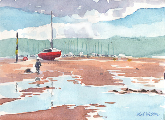 Watercolour sketch looking out across Exmouth's Shelly Beach at low tide, with boats standing high and dry.