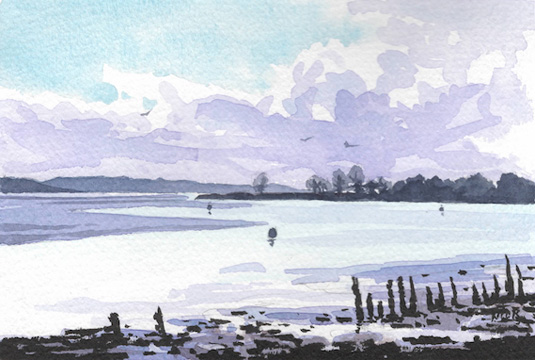 Watercolour painting looking down the Exe from the Turf Hotel.