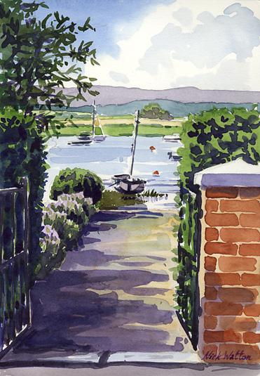 Watercolour sketch looking through the garden gateway at Topsham, through to the Estuary beyond.