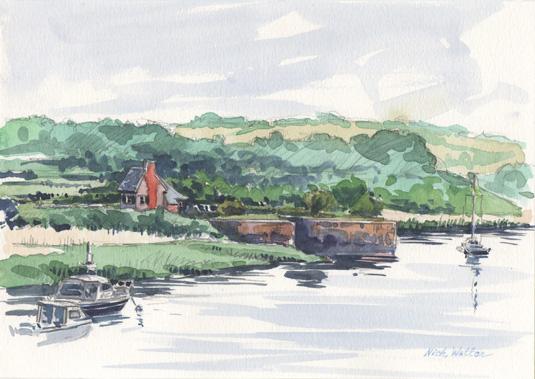 Watercolour sketch of Topsham Lock.