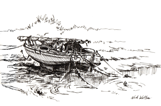 Pen sketch of two boats 'waiting' on the mud in Cockwood Harbour.