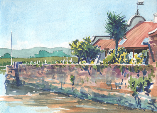 Watercolour painting showing 'Wixel's' a house on the Exe Estuary.
