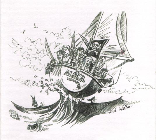 Pen cartoon of the crew of the good ship Algol.