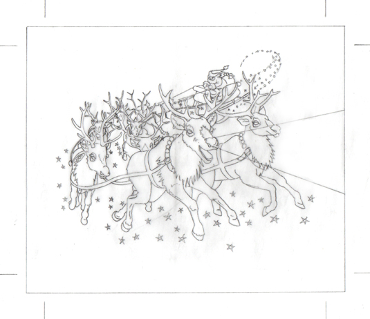 Pencil drawing of Rudolf and the reindeer pulling Santa's sleigh.