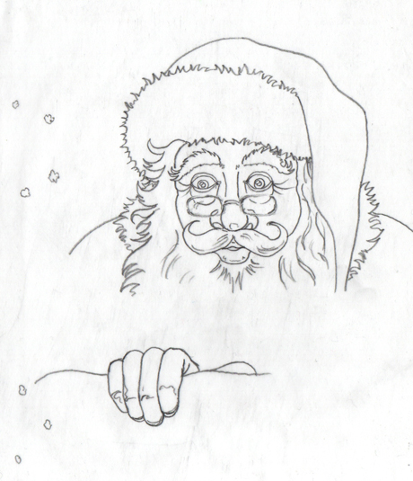 Pencil rough of Santa stuck in the chimney.