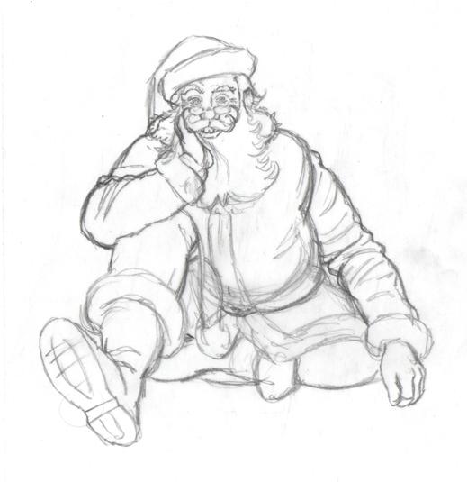 A pencil sketch of Santa.