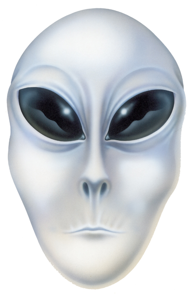Airbrushed alien face.