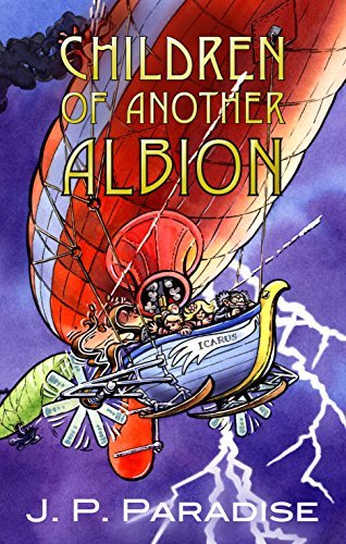 Book Cover with an Airship flying against a stormy sky.