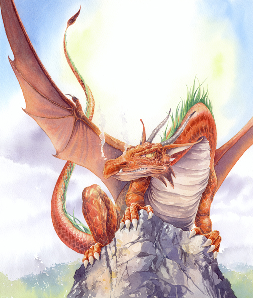 Artwork of a Red Dragon sat on a rock with wings spread out. Painted in watercolour.