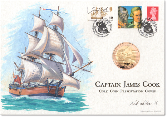Oil painting of Cook's 'Endeavour' on a First Day Cover.