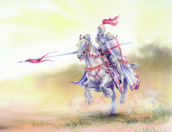 Watercolour illustration of a Knight charging into battle.