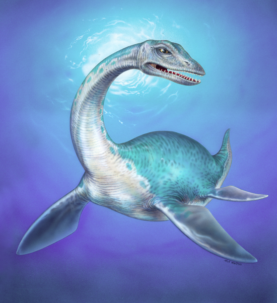 Airbrushed artwork of a Plesiosaur swimming.
