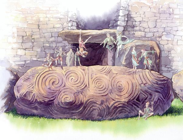 Watercolour artwork of fairies dancing outside of Newgrange.
