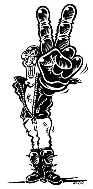 Ink artwork of a cartoon biker holding up two fingers.