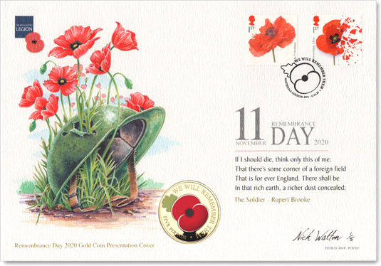 Painted First Day Cover for the 80th Anniversary of the Battle of Britain, with six stamps and coin.