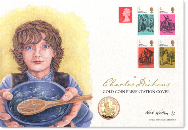 Oil painting of a child with his bowl on a Charles Dickens First Day Cover.